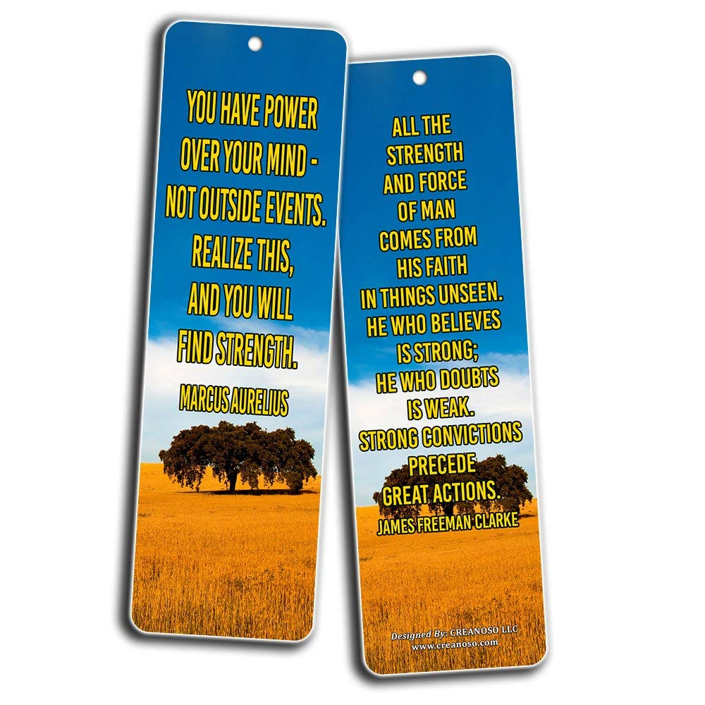 Creanoso Inspirational Stay Strong Quotes Bookmarks (60-Pack