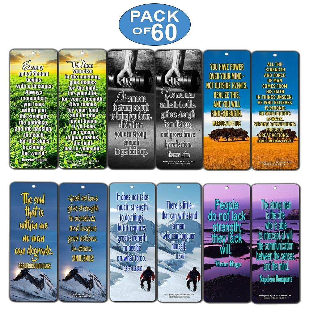 Creanoso Inspirational Stay Strong Quotes Bookmarks (60-Pack) - Positive  Affirmation Sayings Cards