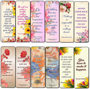 Creanoso Floral Inspirational Motivational Quote Bookmarks (30-Pack) – Powerful Lady Sayings About Character – Stocking Stuffers Gift for Women, Ladies, Girls, Wife