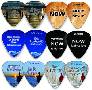 Creanoso Guitar Picks (12-Pack) - Motivational Inspirational Saying Quotes – Inspiringly Cool Gifts Love for Men Women Youth - Great Gift Ideas for Anniversary, Birthday, Chrismas Stuffers