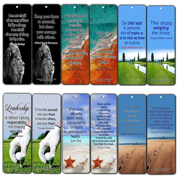 Creanoso Leadership Quotes Bookmarks Cards (60-Pack) - Gifts for Men Women Adults Teens Leader