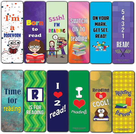 Creanoso Bookmarks for Students – Cool Book Reading Theme (60-Pack) – Inspiring Inspirational Sayings Bookmarker Cards – Premium Gift Set for Boys, Girls, Men, Women, Teens – Incentive Gift Rewards