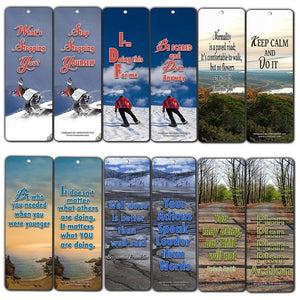 Creanoso Action Inspirational Bookmarks (60-Pack) - Inspiring Motivational Quotes for Success