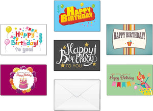 Creanoso Birthday Gifts Cards for Boys, Girls, Teens, Men, Women (60-Pack) – Six Assorted Quality Greeting Card Set – Premium Gift Stocking Stuffers