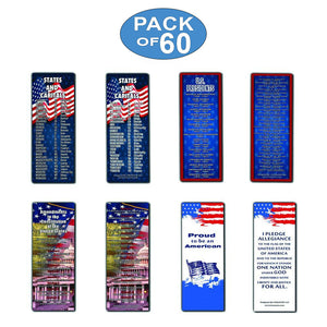 Patriotic Bookmarks Note Cards (60-Pack) - States and Capitals - US Presidents Updated - Assorted