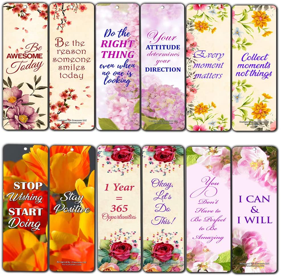 Creanoso Floral Positive Mindset Inspirational Quote Bookmarks (30-Pack) – Powerful Lady Sayings About Character – Stocking Stuffers Gift for Women, Ladies, Girls, Wife