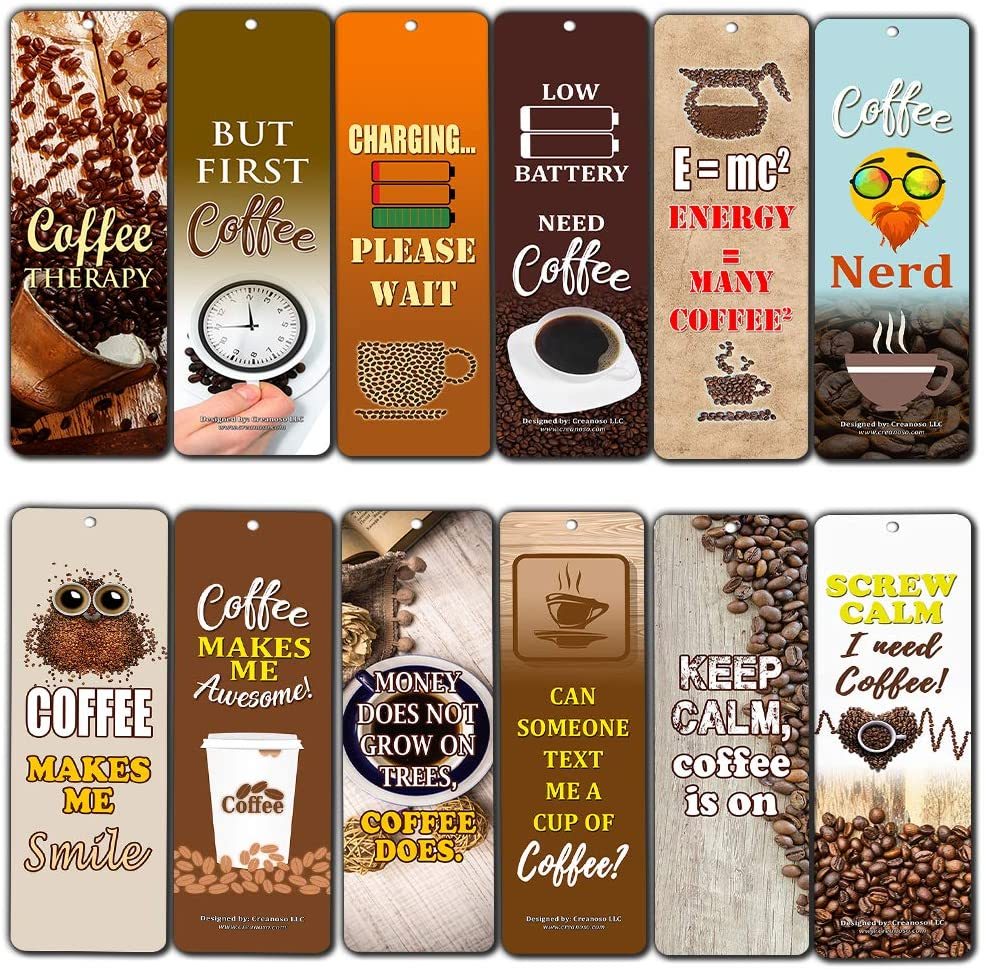 Creanoso Awesome Bookmark Coffee Lover Series III Bookmarkers for Men, Women (30-Pack) – Premium Gift Set – Stocking Stuffers Gift for Coffee Lovers
