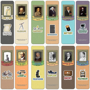 Creanoso Famous Male Inventors and their Inventions Educational Bookmarks Cards (60-Pack) - Premium Gift Ideas for Children, Teens, & Adults - Stocking Stuffers Party Favor & Giveaways