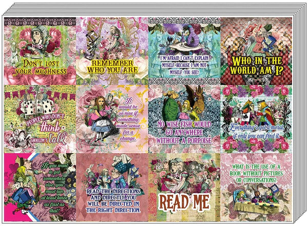 Creanoso Alice in Wonderland Stickers Series 3 (10-Sheet) – Total 120 pcs (10 X 12pcs) Individual Small Size 2.1 x 2. Inches , Waterproof, Unique Personalized Themes Designs, Any Flat Surface DIY Decoration Art Decal for Boys & Girls, Children, Teens