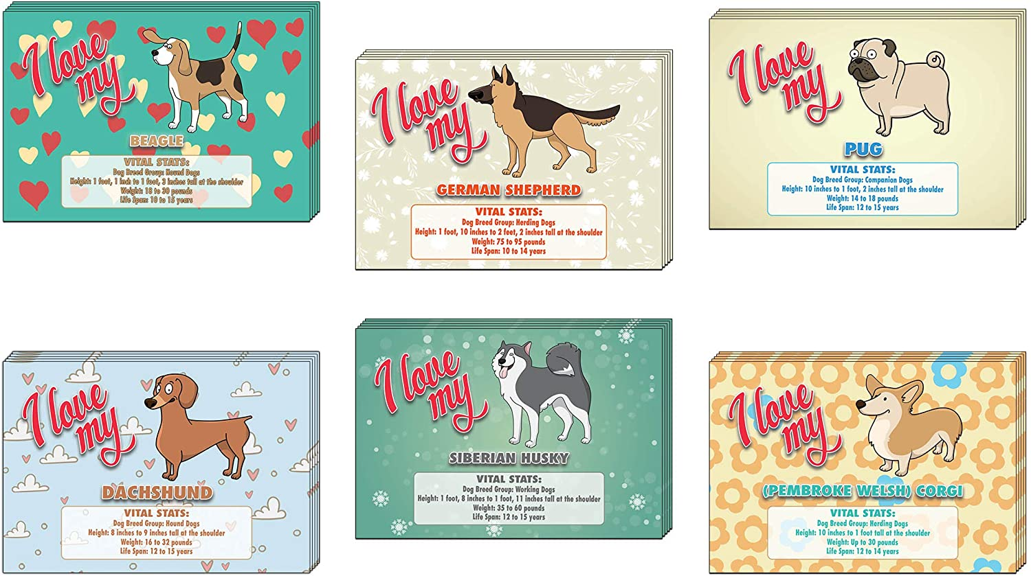 Creanoso Colorful I Love My Dog Postcards (30-Pack) – German Shephard, Siberian Husky, Beagle, Pug, Dachshund, Corgi with Vital Stats – 6 Greeting Cards Designs - Premium Greeting Cards Set