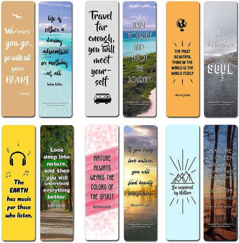 Creanoso Inspirational Travel & Nature Quotes Bookmarks (60-Pack) – Awesome Bookmarks for Travelers, Tourists Adult Men & Women, Teens – Travel Giveaways – Corporate Rewards Incentives