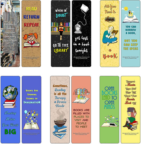 Creanoso I Love Reading Bookmarks (60-Pack) - Premium Quality Gift Ideas for Children, Teens, Adults for All Occasions - Stocking Stuffers Party Favor & Giveaways