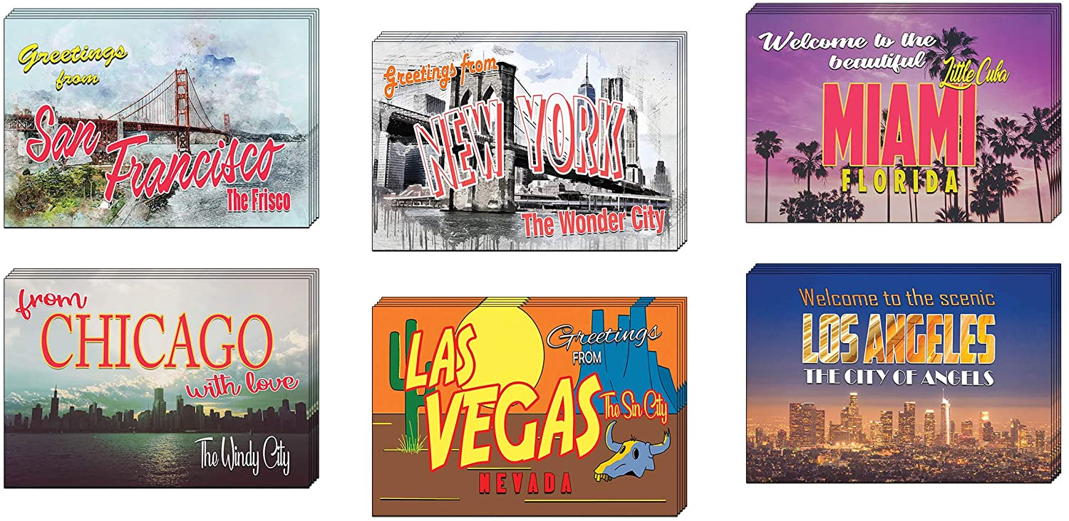 Creanoso Colorful Great US Cities Travel Postcards (30-Pack) – 6 US Cities Greeting Card Designs - Premium Gift Cards Set for Men, Women, Teens, Tourists, Travelers – Great Stocking Stuffers Gift