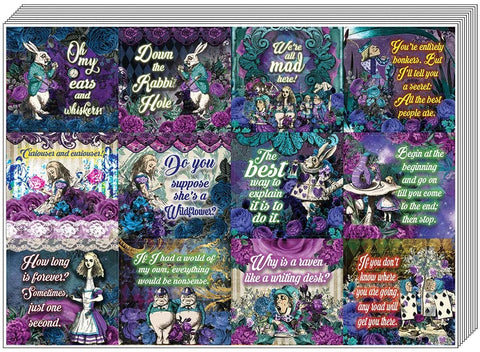 Creanoso Alice in Wonderland Stickers Series 2 (10-Sheet) – Total 120 pcs (10 X 12pcs) Individual Small Size 2.1 x 2. Inches , Waterproof, Unique Personalized Themes Designs, Any Flat Surface DIY Decoration Art Decal for Boys & Girls, Children, Teens