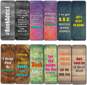 Creanoso Addicted Readers Bookmarks (60-Pack) – Inspiring Inspirational Bookmarker Cards Set - Premium Stocking Stuffers Gifts for Bookworms, Book Lovers, Bibliophiles – Great Stocking Stuffers Gifts
