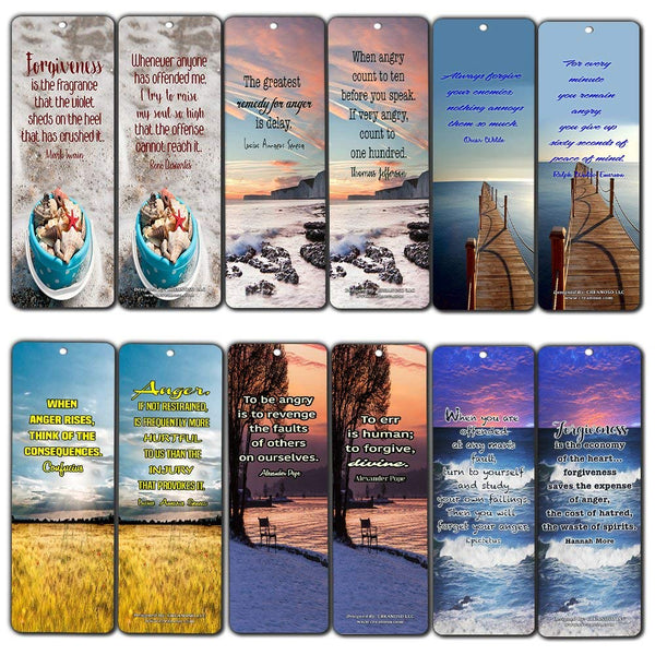 Creanoso Inspirational Bookmarks Cards - Anger Management & Forgiveness Quotes (60-Pack) - Best Set