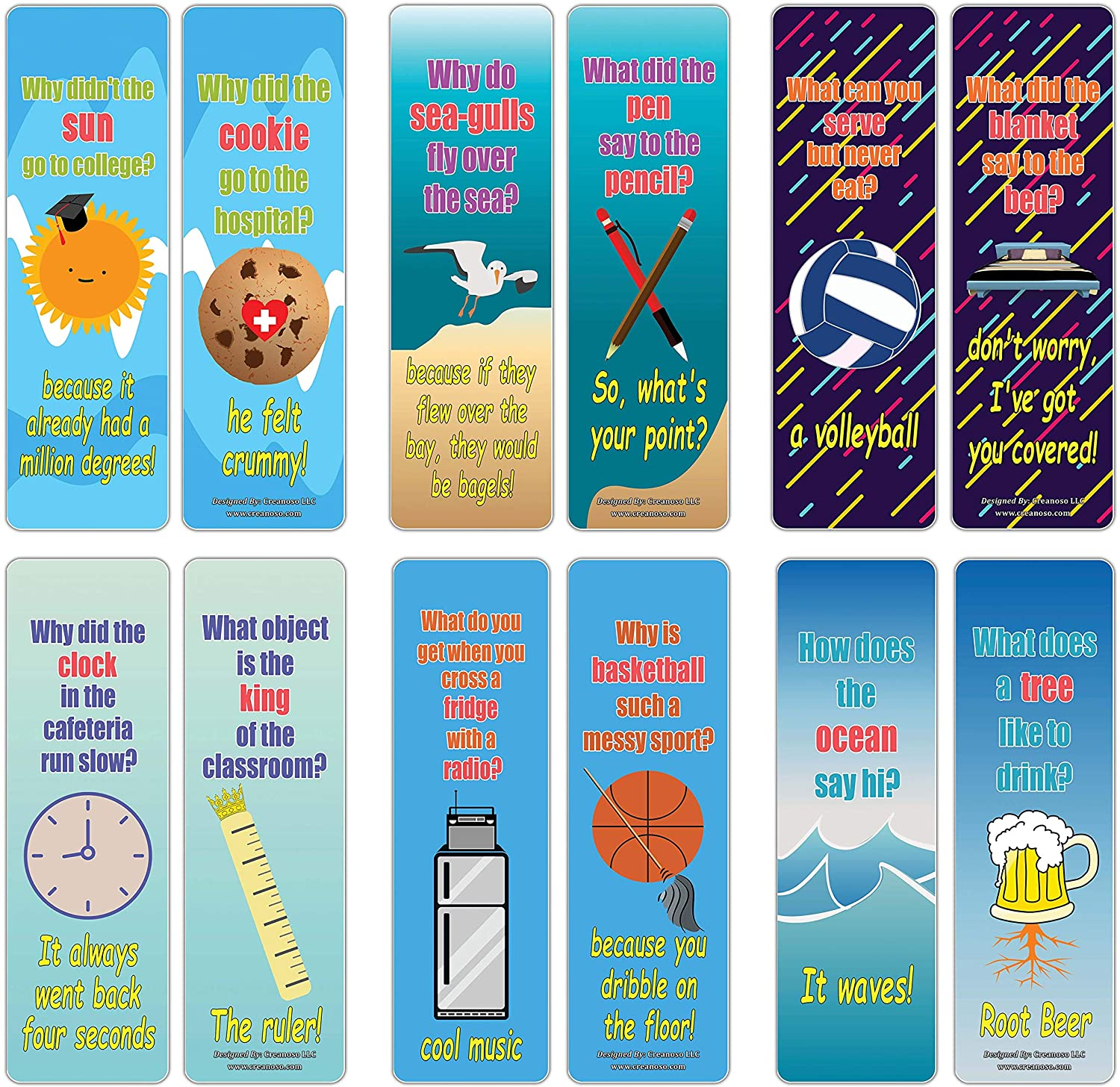 Creanoso Hilariously Silly and Funny Jokes Series 4 Bookmarks (60-Pack) – Motivational Book Reading Bookmarkers – Teacher Incentive and Classroom Rewards Gifts – Unique Party Favors