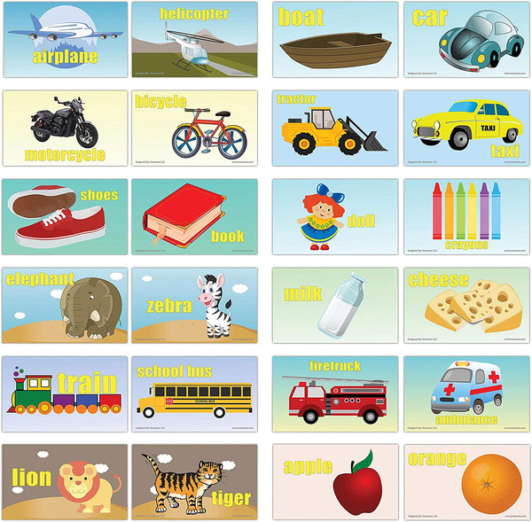 Creanoso Basic Object Identification Flashcards for Toddler (60-Pack) – Mini Educational Information Cards Set – Unique Gift Set for Boys, Girls - Assorted Learning Educational Pack