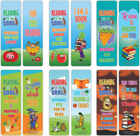 Creanoso Cool Vegetable Reading Sayings Bookmarks (60-Pack) – Stocking Stuffers Gift for Kids, Boys & Girls, Teens – Party Favors Supplies – Book Reading Rewards Gifts Incentive – Great Giveaways Set