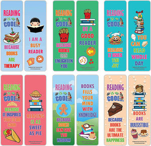 Creanoso Cool Various Foods Reading Sayings Bookmarks (60-Pack) – Cool Gift Token for Kids, Boys & Girls, Teens – Party Favors Supplies – Book Reading Rewards Incentive – Great Giveaways Set