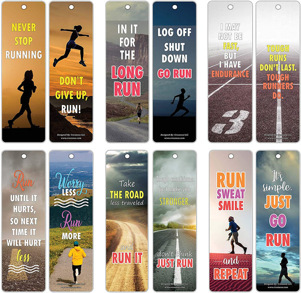 Creanoso Inspiring Sayings Quotes Running Bookmark for Runners, Joggers, Athletes (60-Pack) – Premium Gifts Set – Awesome Bookmarks – Gifts for Running, Jogging, Hiking