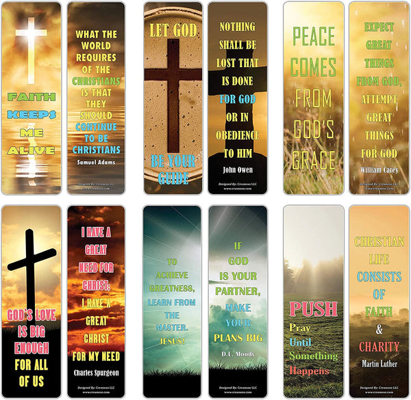 Creanoso Inspiring Quotes Christian Sayings Bookmarks (60-Pack) – Six Assorted Quality Bookmarker Cards Bulk Set – Premium Gift for Men & Women, Adults – Premium Gift Set – Book Marking Clippers