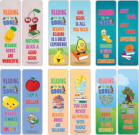 Creanoso Fruits Reading is Cool Educational Bookmarks for Kids (60-Pack) – Six Assorted Quality Bookmarker Cards Bulk Set – Premium Gift Tokens for Kids, Boys, Girls, Teens, Young Bookworms