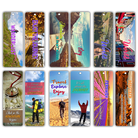 Creanoso Adventure Wanderlust Travel Bookmarks (12-Pack) – Great Stocking Stuffers Gift Ideas