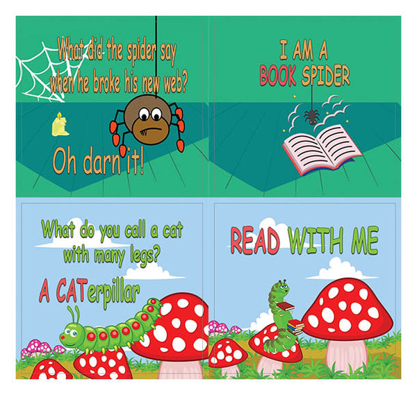 Creanoso Funny Reading Bug Stickers for Kids (10-Sheet) – Gift Rewards Ideas for Boys, Girls
