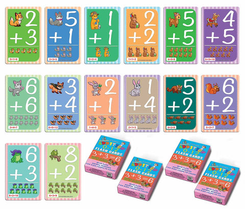 Educational Cute Animals Learning Addition 0-12 Flash Cards for Kids Bulk Set (4-Deck) - Pretty Favors Decor Decal Supply - Stocking Stuffers Gifts for Boys Girls Home Activities - High Quality Cards