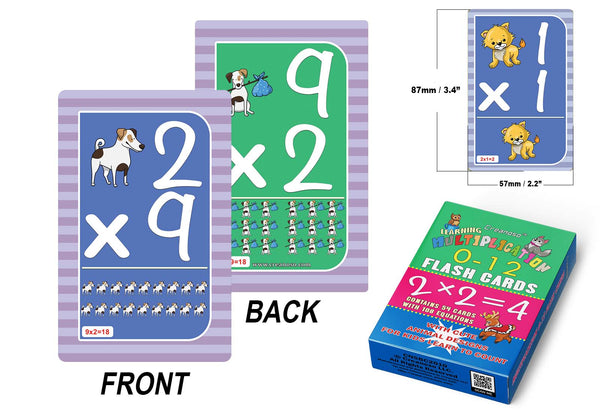 Creanoso Cute Animals Learning Multiplication 0-12 Flash Cards (2-Deck) - Fun Stocking Stuffers for Theme Party Favors Supply Props Games - Suitable for Kids Boys Girls Children - Waterproof Cards