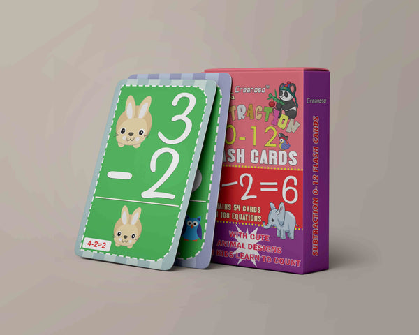 Creanoso Educational Cute Animals Learning Subtraction 0-12 Flash Cards for Kids Bulk Set (4-Deck) - Pretty Favors Decor Decal Supply - Stocking Stuffers Gifts for Boys Girls Home Activities