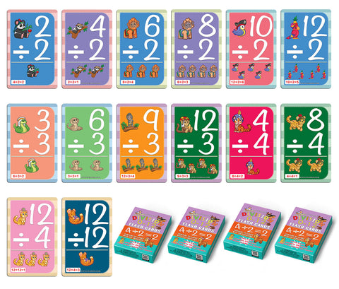 Creanoso Learning Division 0-12 Educational Flash Cards – Cute Animals (4-Deck) – Design Gifts Ideas for Birthday Party Supply for Kids Boys Girls – Fun Activities Stocking Stuffers – Teaching Set