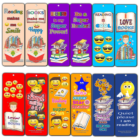 Creanoso Smiley Face Bookmarks Cards for Kids (12-Pack) - Emoji Emoticon Bookmarker – Classroom Incentives – Teacher Rewards - Books Reading Rewards Incentives for Kids Boys Girls – Teaching Supplies