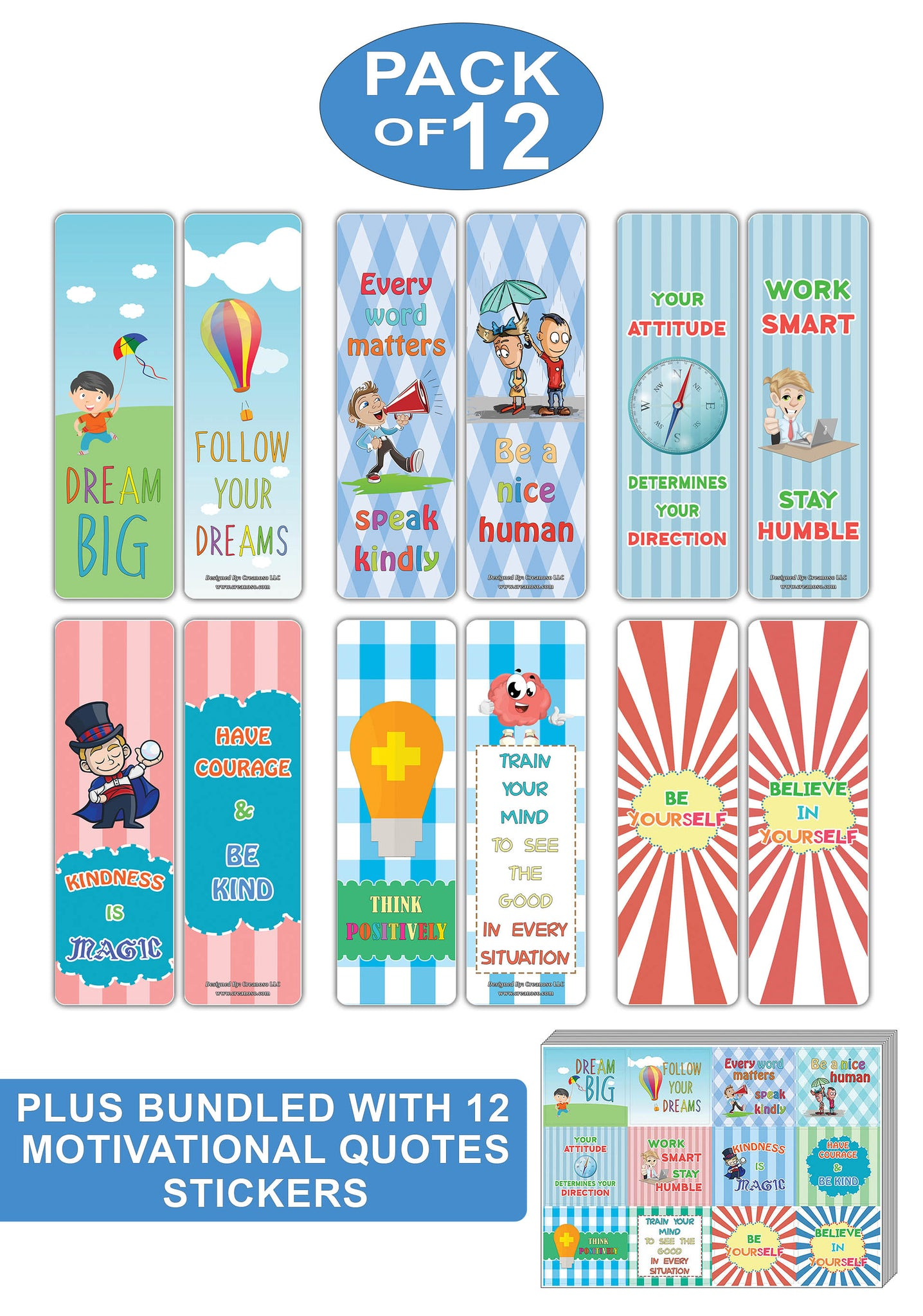 Creanoso educational motivational quotes bookmarks and stickers bundle pack great gifts for kids