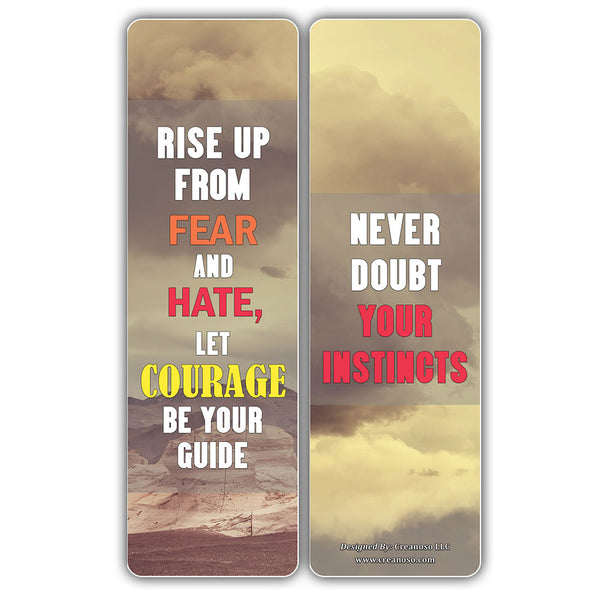 Creanoso Inspiring Sayings Courage Quote Bookmark Cards (60-Pack) – Stocking Stuffers Gifts for Men, Women, Teens – Epic Collection Bulk Pack Set- Premium Quality Card Stock – DIY Kit – Teacher Gifts