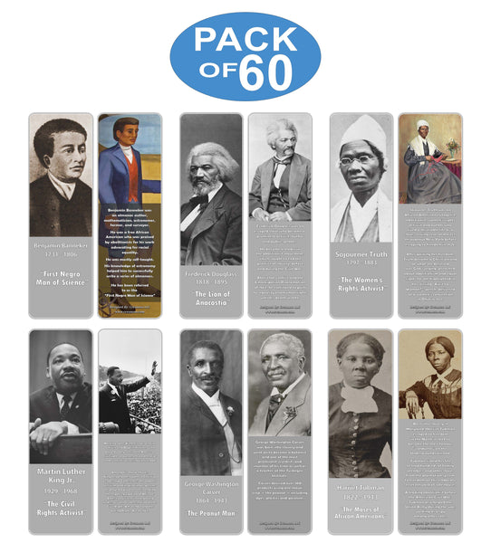 Creanoso Famous Historical African Americans Bookmarks – Learning Rewards Cards - Unique Gifts