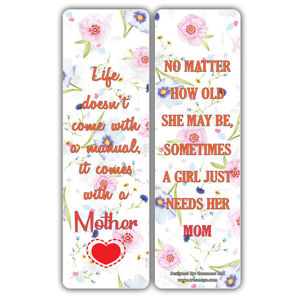 Creanoso Mother and Daughter Sayings Quote Bookmarks – Inspirational Parental Sayings for Moms