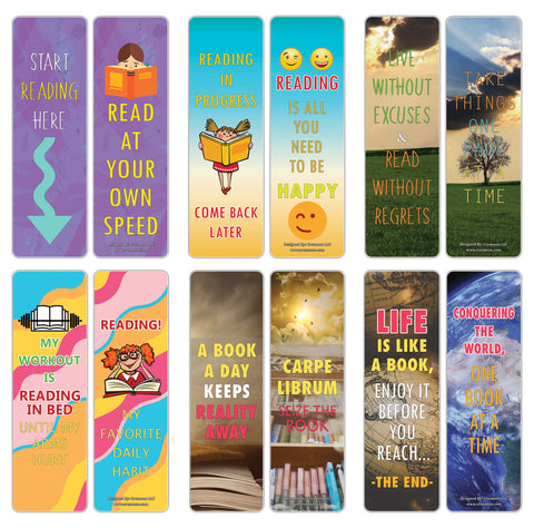 Creanoso Amazing Readers Sayings Reading Bookmarks – Premium Stocking Stuffers Gifts for Bookworms