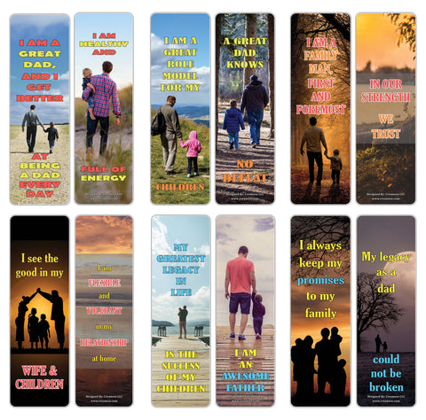 Creanoso Amazing Affirmation Words for Fathers Bookmarks – Premium Bookmarks Gift Cards