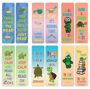 Creanoso Amazing Readers Sayings Reading Turtle Bookmarks – Stocking Stuffers Gifts for Boys and Girls