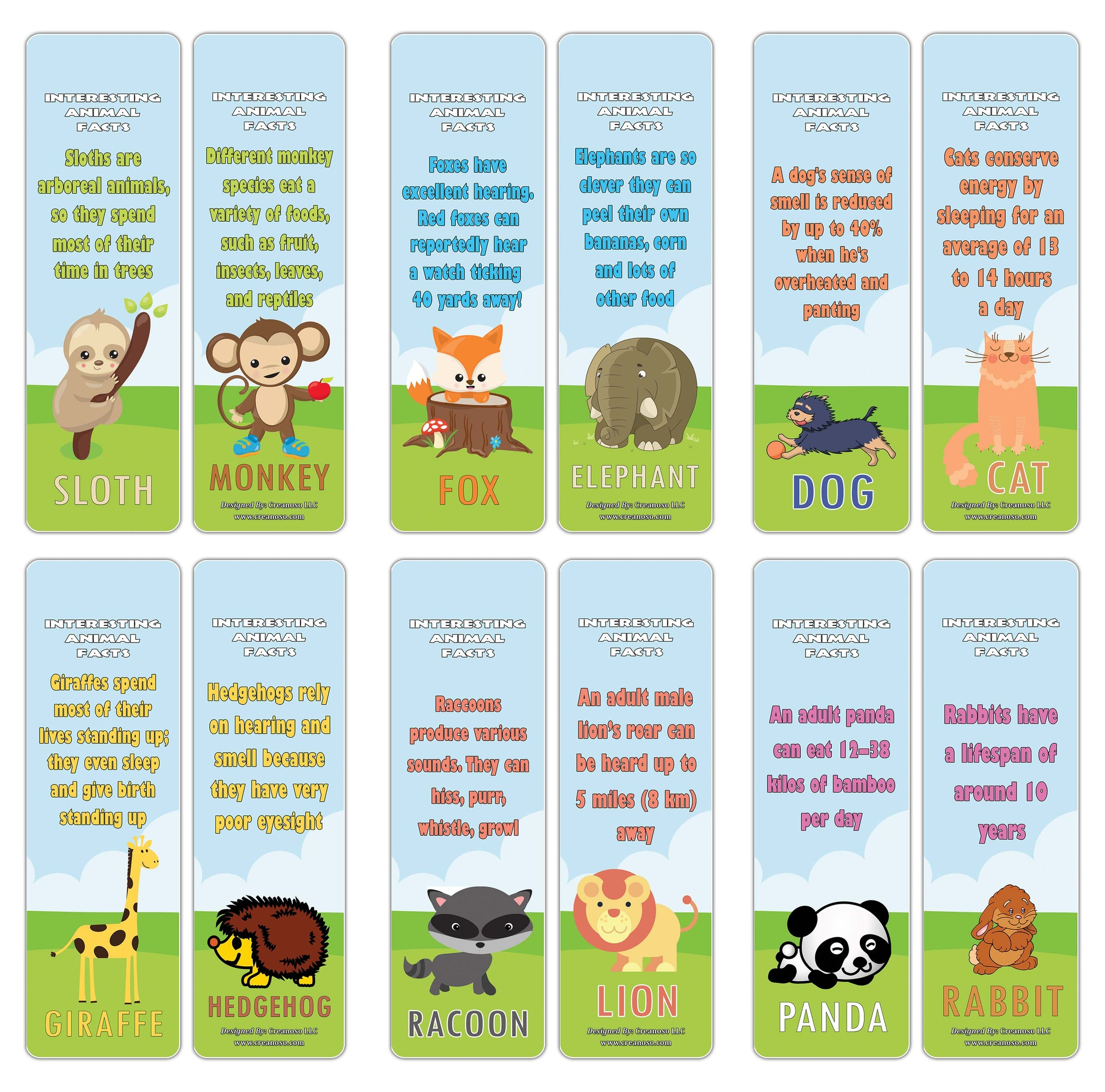 Creanoso Animal Fun Facts Bookmarks Series 3 - Cool and Unique Educational Bookmarkers