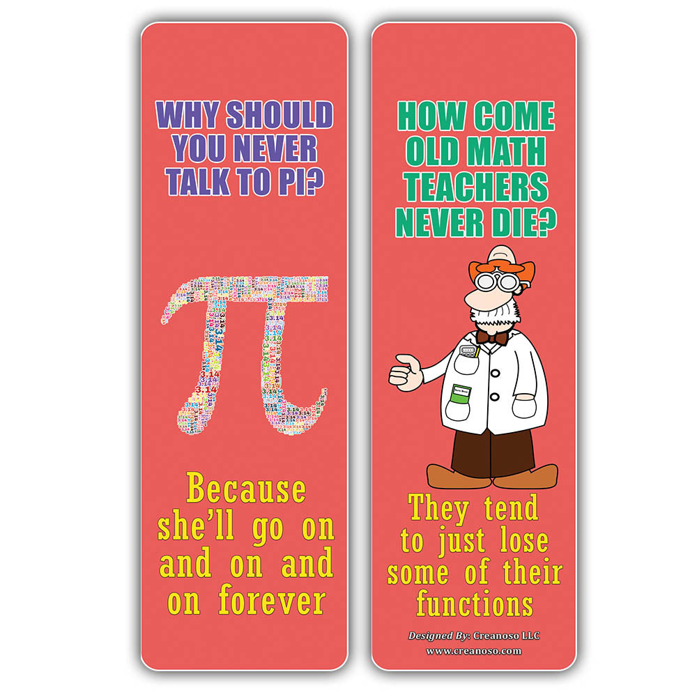 Creanoso Math Puns Bookmarks - Funny Puns and Jokes Book Page Clippers
