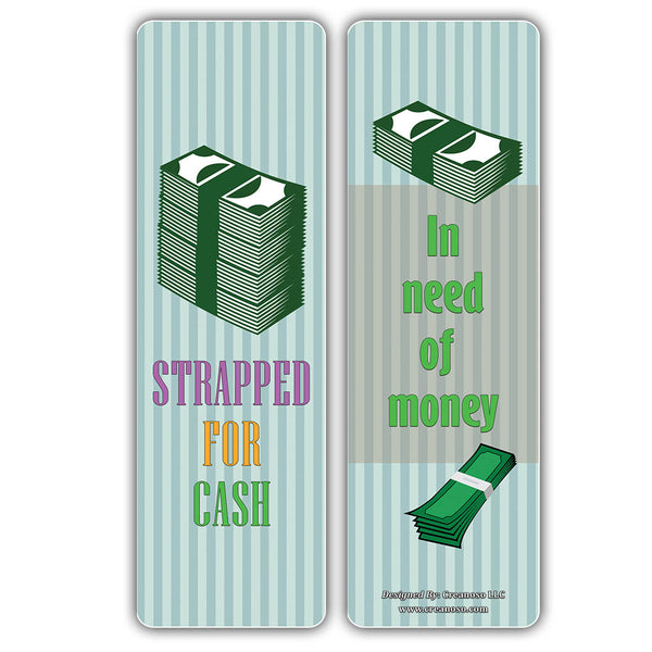 Creanoso Money Idioms Bookmarks - Business Idiomatic Expressions - Cool and Unique Page Clippers