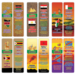 Creanoso African Countries Facts Bookmarks - Unique Stocking Stuffers Gifts for Kids