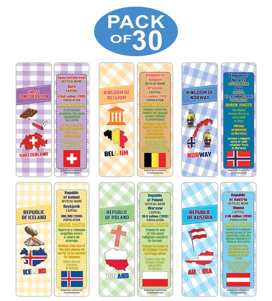 Creanoso Educational Facts European Countries Learning Bookmarks Series 2 - Stocking Stuffers Gifts for Boys and Girls