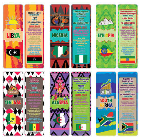 Creanoso African Countries Facts Series 2 Bookmarks for Kids - Cool Gift Token Giveaways