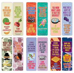 Creanoso Funny Food Puns Jokes Bookmarks - Unique Stocking Stuffers Gifts for Food Lovers