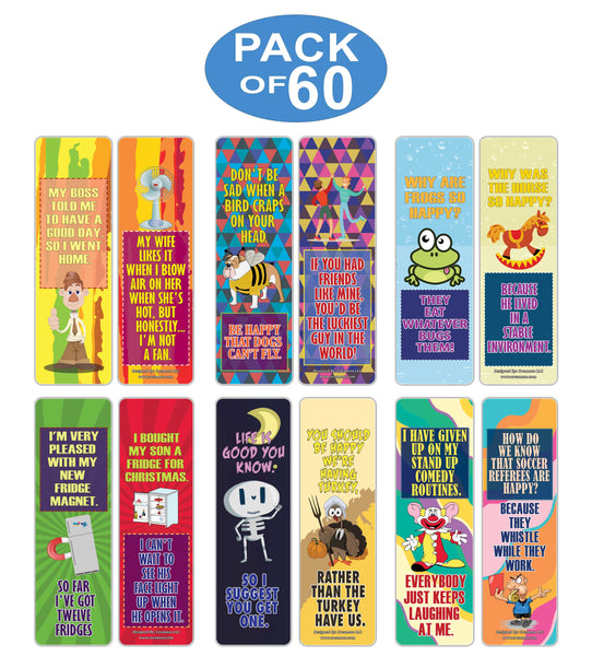 Creanoso Funny One Liners Jokes Happiness Bookmarks Series 1 – Unique Stocking Stuffers Gifts for Bookworms