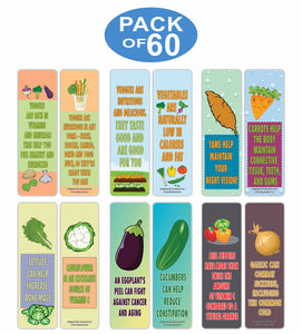 Creanoso Vegetable Educational Bookmarks (60-Pack) – Great Home School Teaching for Parents - Cool Stocking Stuffers Gifts for Boys and Girls - DIY Kit